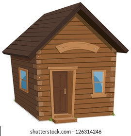 Wood House Lifestyle/ Illustration of a simple cartoon spring or winter wooden little forest lodge, shack house, hut or cabin