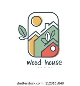 Wood house logo design, ecologic home sign vector Illustration on a white background.