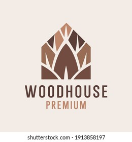 wood house logo template Vector