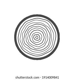 Wood icon. Cut tree symbol. Vector illustration isolated on white