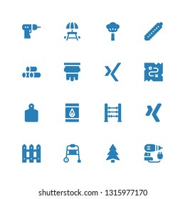 wood icon set. Collection of 16 filled wood icons included Driller, Pine, Walking stick, Fence, Xing, Abacus, Matches, Cutting board, Treasure, Silkscreen, Wood, Caterpillar, Tree