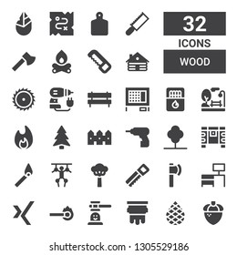wood icon set. Collection of 32 filled wood icons included Acorn, Palm, Silkscreen, Hammer game, Match, Xing, Desk, Ax, Saw, Tree, Puppet, Chest, Driller, Fence, Pine, Bonfire
