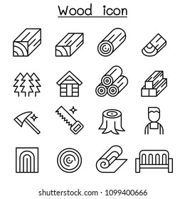 Wood icon set in thin line style