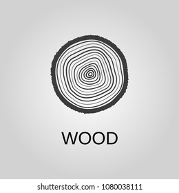 Wood icon. Wood symbol. Flat design. Stock - Vector illustration