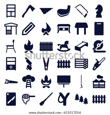Groovy Wood Icons Set Set 36 Wood Stock Vector Royalty Free Squirreltailoven Fun Painted Chair Ideas Images Squirreltailovenorg