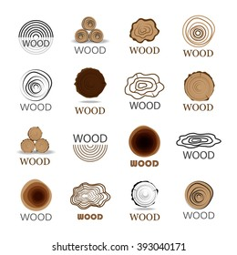 Wood Icons Set-Isolated On White Background-Vector Illustration,Graphic Design.For Web, Websites, App, Print, Presentation Templates, Mobile Applications And Promotional Materials.Different Shape Sign