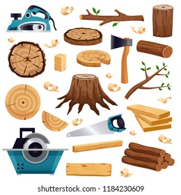Wood industry material tools and production  flat set with tree trunk logs planks saw axe vector illustration