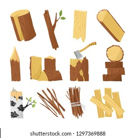 Wood industry raw material and production samples flat set with tree trunk logs planks door vector illustration.