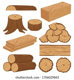 Wood industry raw materials. Realistic production samples collection. Tree lumber, trunk. Vector pictures set in cartoon style. Wooden trunk, ilustration of firewood material