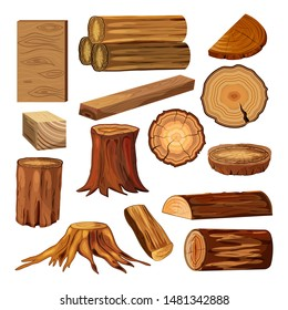 Wood industry raw materials. Set of wood logs for forestry and lumber industry. Cartoon vector illustration.