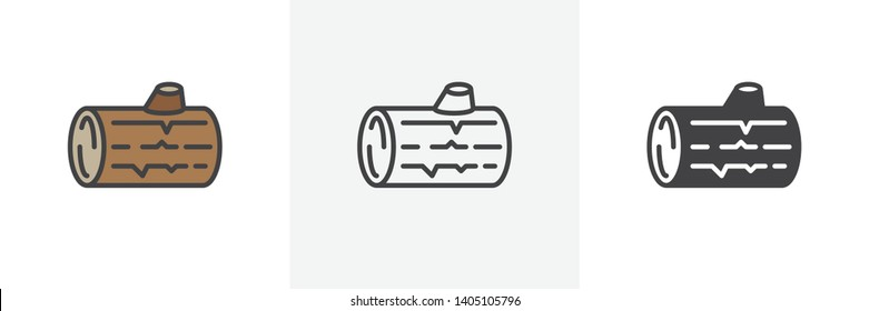 Wood log icon. Line, glyph and filled outline colorful version, Logs of tree outline and filled vector sign. Symbol, logo illustration. Different style icons set. Vector graphics