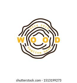 wood log logo design.circular grain texture