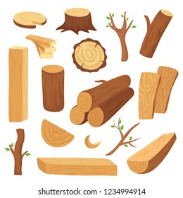 Wood log and trunk. Cartoon wooden lumber, plank. Forestry construction materials vector isolated set