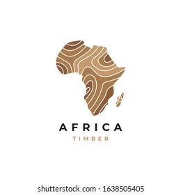 Wood logo with map symbol graphic design vector template. Africa