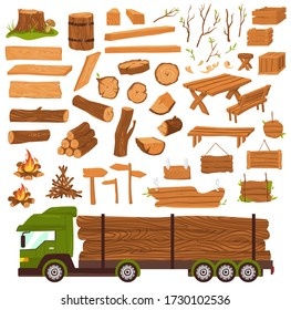 Wood logs, timber industry, wooden materia production, lumbers flat set with tree trunk, planks saw vector illustration isolated on white. Firewood, pile of hardwood for carpentry and truck with logs.