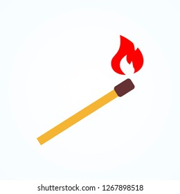 wood matchstick light flammable  red fire icon