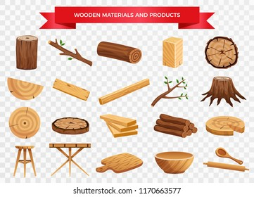 Wood material and manufactured products set with tree trunk branches planks kitchen utensils transparent background vector illustration