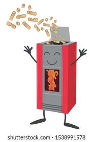 Wood pellet stove cartoon isolated on white background