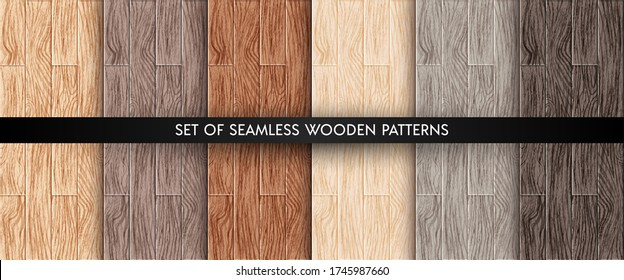 Wood plank texture seamless patterns set. Realistic different color wooden boards. Office and home floor textures collection. Vector illustration design elements for web, decor, app, background