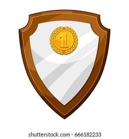 Wood plaque award board with gold medal. Illustration of shield for sports or corporate competitions.