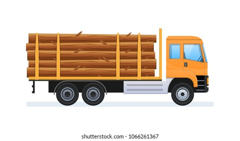 Wood production and forestry. Log with load in form of felled trees, forestry equipment for loading and transporting goods. Transportation of natural resources to wood factory. Vector illustration.