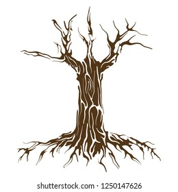 wood and roots vector art, illustration of dead tree trunk