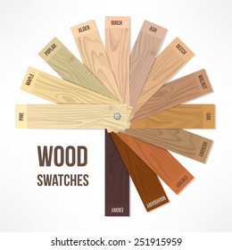Wood round swatches with different hues and finishing