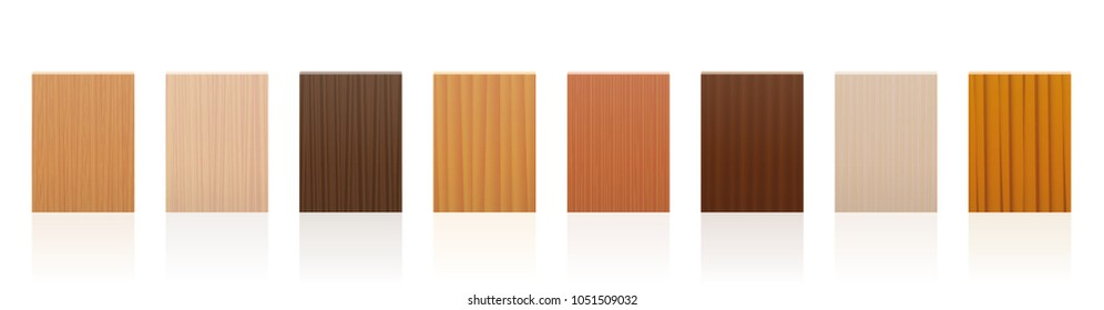 Wood samples. Wooden plate set with different colors, glazes, textures from various trees to choose - brown, dark, gray, light, red, yellow, orange decor models - vector on white background.