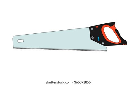 Wood saw with teeth from hardened steel, hanging hole and water level on the handle. Placed on white background. Vector illustration.