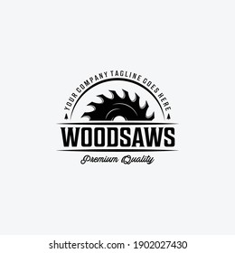 Wood saws Vintage Logo with Wood Working, Design of Chainsaw Vector Illustration, Concept of Carpentry
