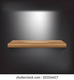wood shelf on grey background vector illustration eps10 on white background