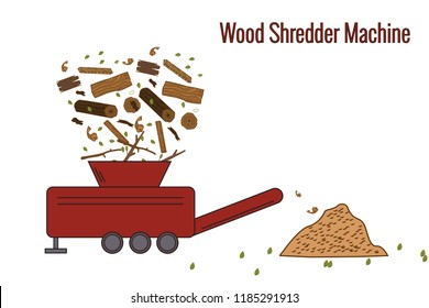 Wood Shredder Machine used for processing the wood waste for producing boiler fuel. Color vector illustration. Icon.