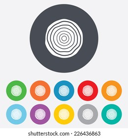 Wood sign icon. Tree growth rings. Tree trunk cross-section. Round colourful 11 buttons. Vector