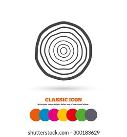 Wood sign icon. Tree growth rings. Tree trunk cross-section. Classic flat icon. Colored circles. Vector