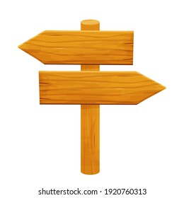 Wood signpost, pointing with direction in cartoon style isolated on white background. Wild west, ui assets design. Empty plank, banner with arrow detailed and textured.