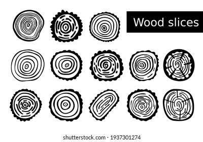 Wood slices set. Black line art oak stump rings. Collection of illustrations for icons and ecology designs. Vector cut tree. Picture lumber hand drawn. Clip art in construction and woodland themes.