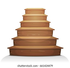 Wood Stairs/ Illustration of a cartoon wooden stairway for old house construction