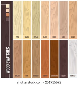 Wood swatches color set with different plants and hues