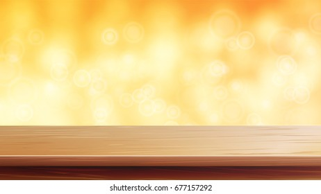 Wood Table Top Vector. Blur Autumn Orange Background. Bokeh Background With Vintage Filter. Good For Display, Montage Your Products.