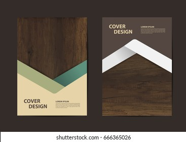 Wood texture background geometric cover business brochure vector design, Leaflet advertising modern poster magazine layout template, Annual report for presentation.