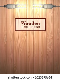 Wood textured background in the form of wooden boards. Light source are USB LED  lamps. Vector illustration.