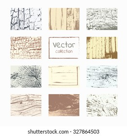 Wood textures  set. Vector natural wooden background.
