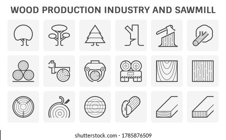 Wood timber production industry or sawmill industry vector icon set design.