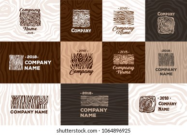 Wood and timber texture symbol logo illustration
