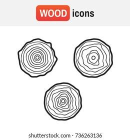 wood tree logo. Tree rings vector illustration. Tree rings vintage symbol