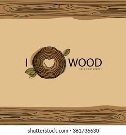 wood vector logo, I love wood