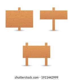 wood vintage billboard icon set