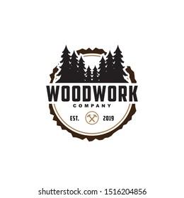 Wood work logo design template.creative badge for woodwork company.