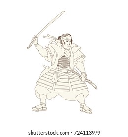 Woodblock drawing sketch style illustration of Samurai Warrior Katana sword Fight Stance viewed from side on isolated background.