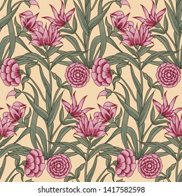 Woodblock printed ethnic floral all over seamless pattern. Traditional oriental motif of India Mogul with bouquets of pink carnations on ecru background. Textile design.
